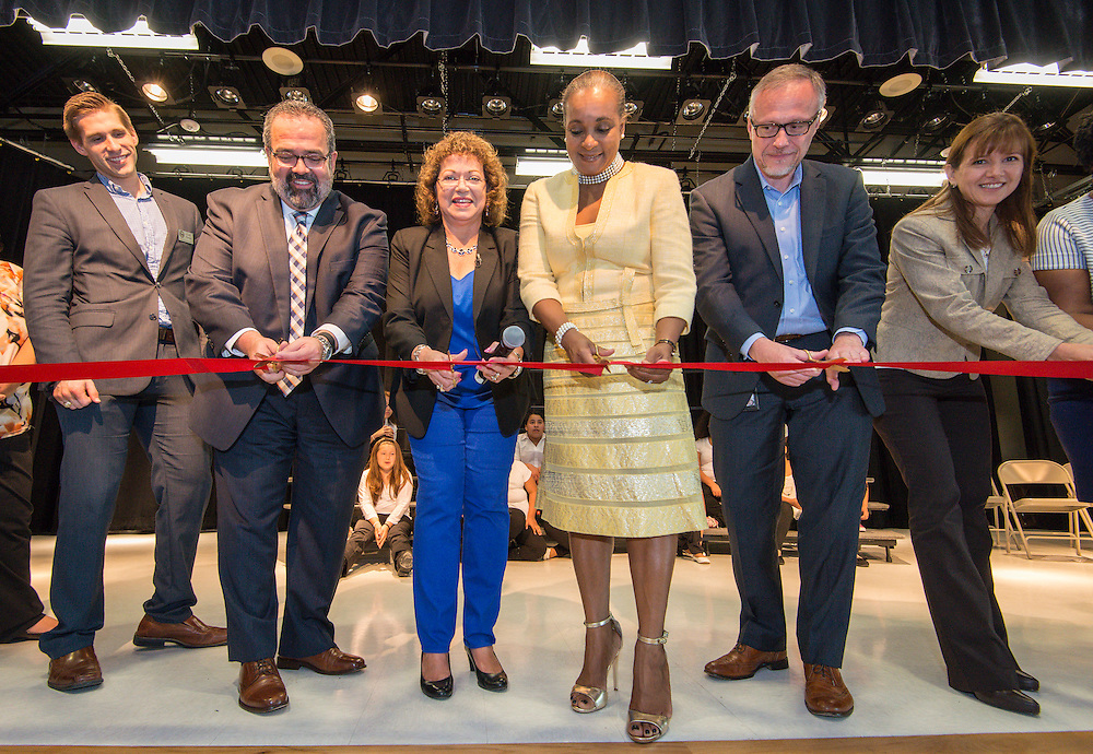 Dedication and ribbon cutting ceremony at Katherine Smith Elementary School, April 27, 2016.