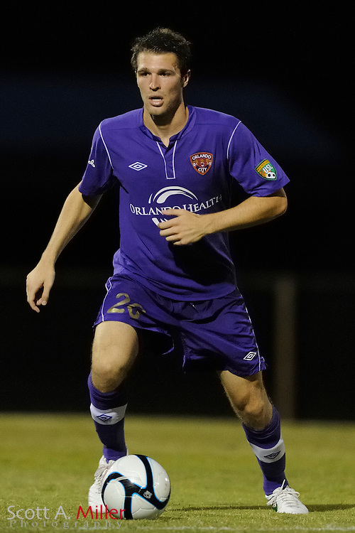 Orlando City's Kyle Davies (20) in action during the Lions game against the Kansas City Athletics in their US Open Cup game at the Seminole Soccer Complex on May 22, 2012 in Sanford, Fla. ..©2012 Scott A. Miller.