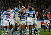 South Africa's Captain Victor Matfield and Argentina's Matias Alemanno having words during the Rugby World Cup Bronze Final match between South Africa and Argentina at the Queen Elizabeth II Olympic Park, London, United Kingdom on 30 October 2015. Photo by Matthew Redman.