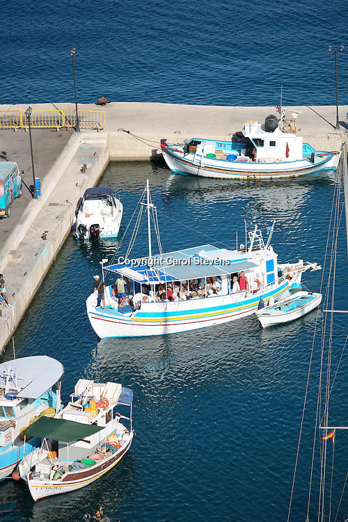 Stelios's boat returning to Livadia, Tilos, Dodecanese, Greece