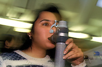 Student at University of Westminster testing breathing apparatus.