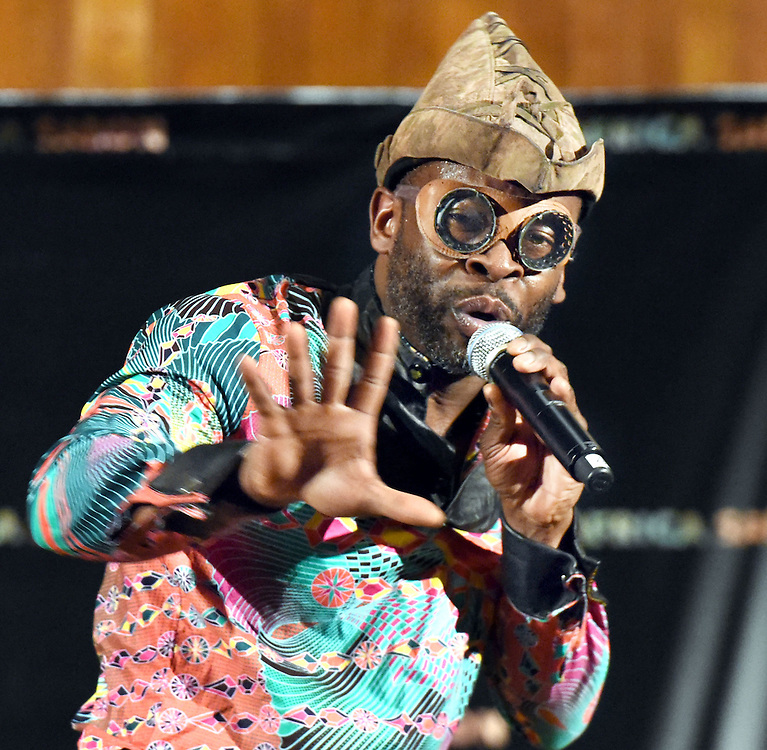 Photo by Mara Lavitt <br /> March 28, 2015<br /> The Africa Salon concert at Battell Chapel, Yale University, featured Kae Sun, Fela Akustic (pictured), Jean Grae and Just a Band. Ruth and Stephen Hendler '73 were among the sponsors.