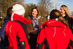 Marlow, Bucks, January 24th 2015. Olympic and Paralympic rowing medallists including Naomi Riches, Heather Stanning and Katherine Grainger join members of a Coxless Crew at Marlow at their boat naming ceremony. The Coxless Crew is a team of four women who have given up their jobs to undertake an epic six-month 8,446 mile adventure rowing their boat Doris across the Pacific ocean from Sanfrancisco to Cairns in Australia, to raise funds for charities Walking With The Wounded and Breast Cancer Care. PICTURED: Olympic Gold medallist Katherine Grainger, centre, chats with Laura Penhaul, left and Emma Mitchell, right.