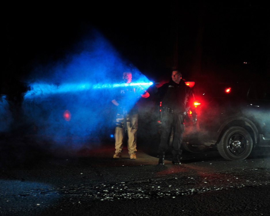Police surround a neighborhood in the Pocono Mountains in search  of ambush suspect Eric Matthew Frein who is accused of shooting two Pennsylvania State Troopers Sept. 20th, 2014 in Canadensis, Pennsylvania. (Chris Post   lehighvalleylive.com)
