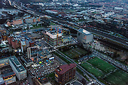 Nederland, Noord-Holland, Amsterdam, 16-01-2014; Zuidas in de avondschemering. De Boelelaan met Vrije Universiteit en VU Medisch Centrum.<br /> Zuid-as, 'South axis', financial center in the South of Amsterdam at twilight with VU University and VU Medical Centre.<br />  luchtfoto (toeslag op standaard tarieven);<br /> aerial photo (additional fee required);<br /> copyright foto/photo Siebe Swart.