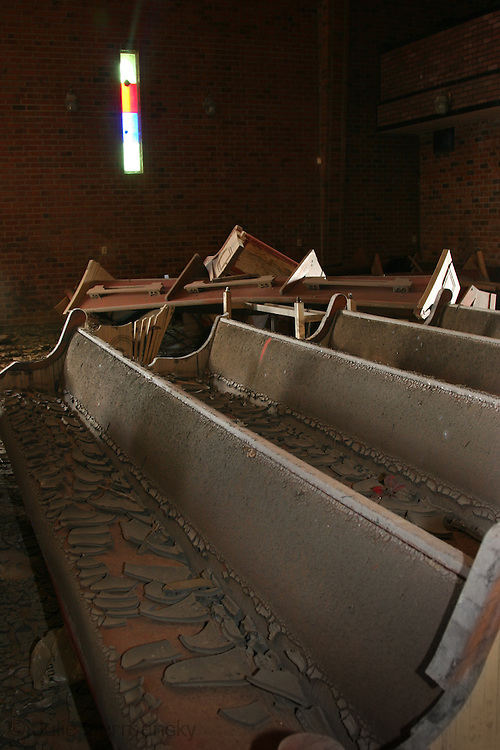 Church destroyed by Hurricane Katrina a year and a half after the storm in New Orleans East.