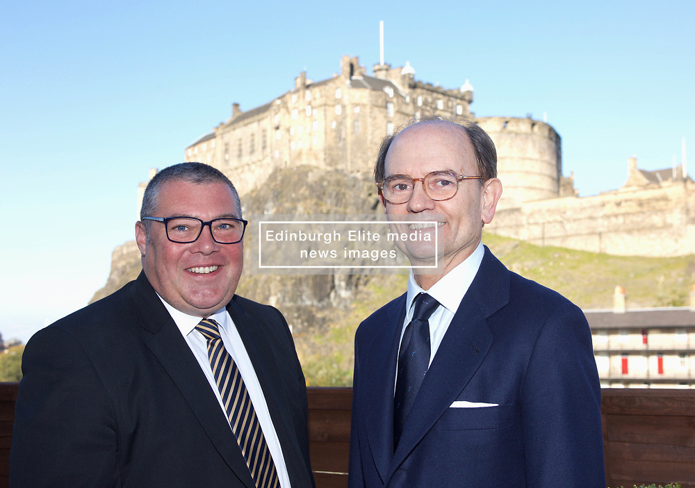 Left to right: Jon Veitch, UK director, Talgo; Carlos de Palacio,  President of Talgo. <br /> <br /> EMBARGO: 09:3 14 NOVEMBER 2018 EMBARGO<br /> <br /> Left to right: Paul Lewis, managing director, Scottish Development International; Carlos de Palacio,  President of Talgo; Jon Veitch, UK director, Talgo<br /> <br /> Representatives of Spanish train manufacturer Talgo will announce the results of their search for a site in Scotland.  They will confirm a site for a 1,000 jobs train building plant at  Longannet <br /> <br /> Copyright Terry Murden @edinburghelitemedia <br /> <br /> EMBARGO: 09:3 14 NOVEMBER 2018 EMBARGO