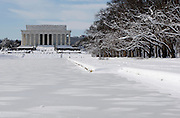 Lincoln Memorial and Reflecting Pool during Washington DC Blizzard 2010