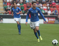 May 17, 2018 - United Kingdom - Giorgio Brogni of Italy Under 17 .during the UEFA Under-17 Championship Semi-Final match between Italy U17s against Belgium U17s at New York Stadium, Rotherham United FC, England on 17 May 2018. (Credit Image: © Kieran Galvin/NurPhoto via ZUMA Press)