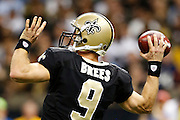 NEW ORLEANS, LA - NOVEMBER 11:  Drew Brees #9 of the New Orleans Saints throws a pass against the Atlanta Falcons at Mercedes-Benz Superdome on November 11, 2012 in New Orleans, Louisiana.  The Saints defeated the Falcons 31-27.  (Photo by Wesley Hitt/Getty Images) *** Local Caption *** Drew Brees
