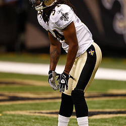 August 27, 2010; New Orleans, LA, USA; New Orleans Saints cornerback Patrick Robinson (34) lines up to receive a kickoff during the first half of a preseason game at the Louisiana Superdome. The New Orleans Saints defeated the San Diego Chargers 36-21. Mandatory Credit: Derick E. Hingle