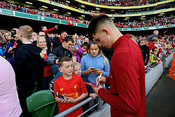 DUBLIN, REPUBLIC OF IRELAND - Saturday, August 5, 2017: Liverpool's Ben Woodburn signs autographs with the supporters after a preseason friendly match between Athletic Club Bilbao and Liverpool at the Aviva Stadium. (Pic by David Rawcliffe/Propaganda)
