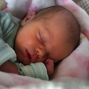 A newborn baby girl asleep. Photo Tim Clayton
