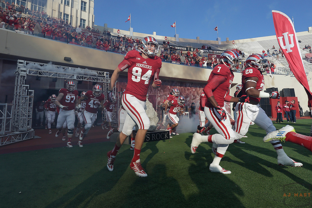 09 November 2013: Indiana Hoosiers tight end Sean Damaska (94) as the Illinois Illini played the Indiana Hoosiers in a college football game in Bloomington, IN.