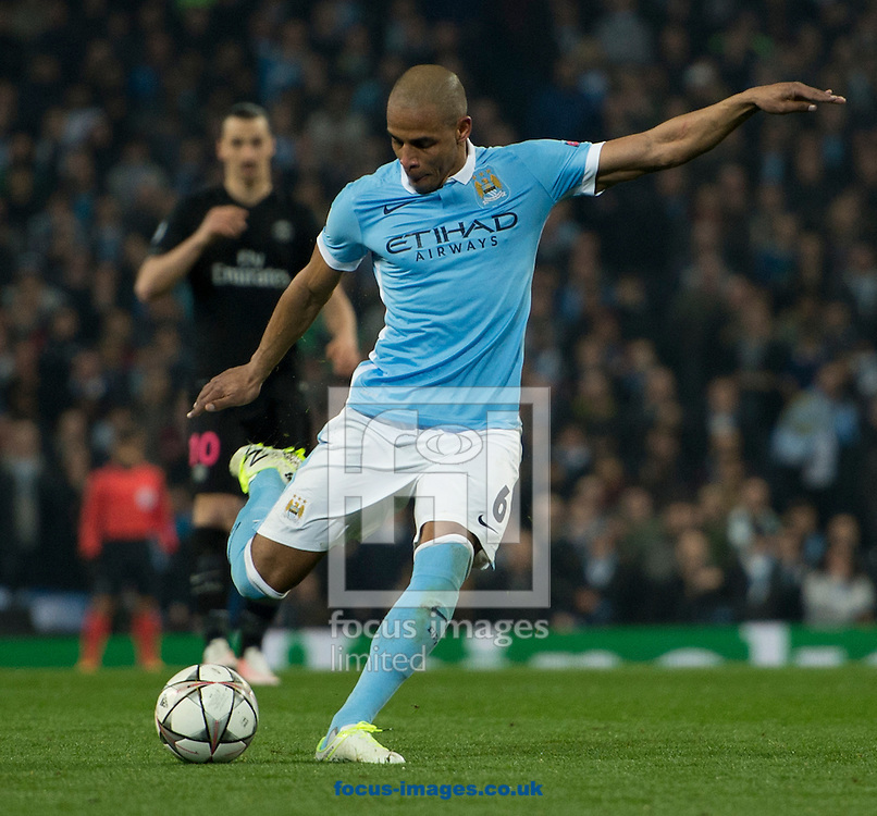 Fernando of Manchester City prepares to shoot during the UEFA Champions League match at the Etihad Stadium, Manchester<br /> Picture by Russell Hart/Focus Images Ltd 07791 688 420<br /> 12/04/2016