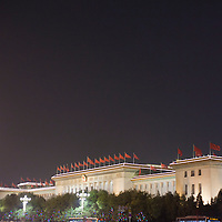 BEIJING, NOV. 8, 2012 : Die erleuchtete Grosse Halle des BVolkes am Abend.