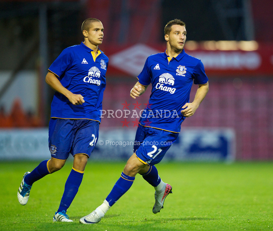 DUBLIN, IRELAND - Monday, August 15, 2011: Everton's Jack Rodwell and Apostolos Vellios in action against Bohemian during a friendly match at Dalymount Park. (Pic by David Rawcliffe/Propaganda)