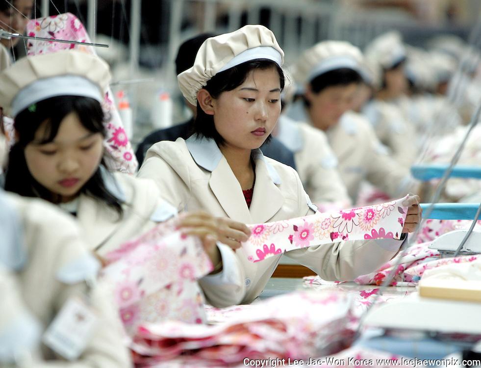 North Korean workers work at a factory of South Korean apparel maker Shinwon company in the inter-Korean industrial park in Kaesong, north of the Demilitarised Zone that divides the Korean peninsula, May 26, 2005. /Lee Jae-Won