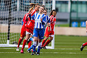 Brighton's Charlotte Owen wheels away from the goal during the FA Women's Premier League match between Brighton Ladies and Cardiff City Ladies at Brighton's Training Ground, Lancing, United Kingdom on 22 March 2015. Photo by Geoff Penn.