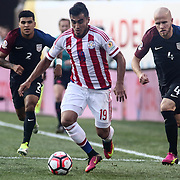 Paraguay Attacker DARIO LEZCANO (19) dribbles up the field in the first half of a Copa America Centenario Group A match between the United States and Paraguay Saturday, June. 11, 2016 at Lincoln Financial Field in Philadelphia, PA.
