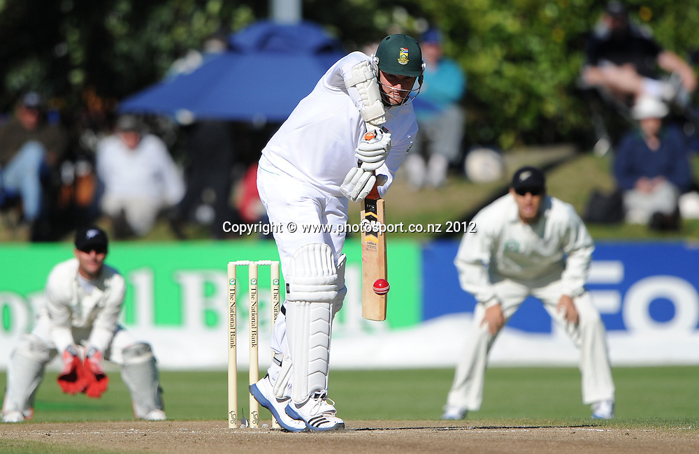 Graeme Smith batting on Day 3 of the first test match between South Africa and New Zealand at the University Oval in Dunedin, New Zealand on Friday 9 March 2012. Photo: Andrew Cornaga/Photosport.co.nz