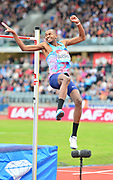 Mutaz Essa Barshim (QAT) wins the high jump at 7-10½ (2.40m) during the Grand Prix Birmingham in an IAAF Diamond League meet at Alexander Stadium in Birmingham, United Kingdom on Sunday, August 20, 2017. (Jiro Mochizuki/Image of Sport)