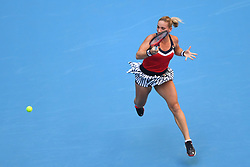 BEIJING, Oct. 3, 2018  Timea Babos of Hungary hits a return during the women's singles second round match against Zhang Shuai of China at China Open tennis tournament in Beijing, China, Oct. 3, 2018.Timea Babos lost 0-2. (Credit Image: © Ju Huanzong/Xinhua via ZUMA Wire)