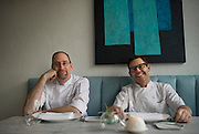 David Collier and John Tesar pose for a portrait at the Spoon Bar and Kitchen on Friday, February 15, 2013 in Dallas, Texas. (Cooper Neill/The Dallas Morning News)