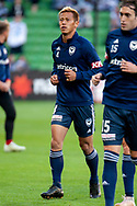 Melbourne Victory midfielder Keisuke Honda (4) at warm up at the Hyundai A-League Round 2 soccer match between Melbourne Victory and Perth Glory at AAMI Park in Melbourne.