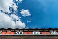 An angled shot of Copenhagen's distinctive architecture.