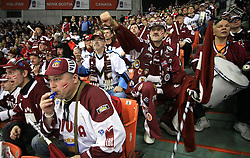 Fans of Latvia at ice-hockey match Canada vs Latvia (with replika jerseys from year 1936) at Preliminary Round (group B) of IIHF WC 2008 in Halifax, on May 04, 2008 in Metro Center, Halifax, Nova Scotia, Canada. (Photo by Vid Ponikvar / Sportal Images)