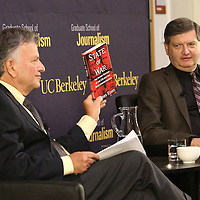"Reporter James Risen (right) speaks onstage with Lowell Bergman during the ""Prosecuting the Press"" event at the UC Berkeley Graduate School of Journalism in Berkeley, California, on Thursday, November 14, 2013. Risen, the New York Times national security reporter is facing jail for refusing to comply with a subpoena to reveal his sources in relation to his book titled State of War: The Secret History of the CIA and the Bush Administration. (AP Photo/Alex Menendez)"
