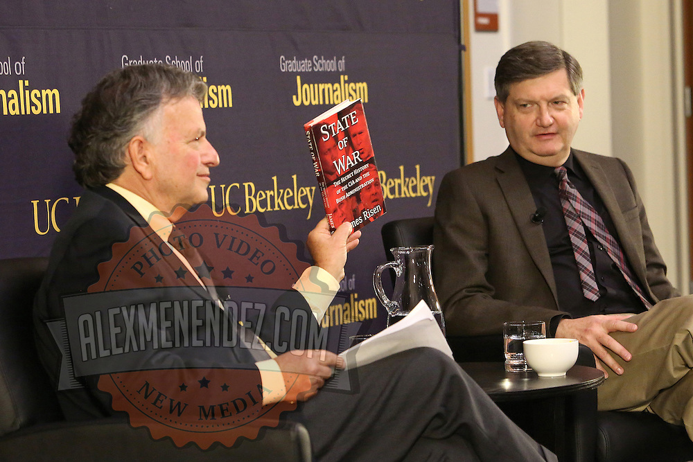 """Reporter James Risen (right) speaks onstage with Lowell Bergman during the """"Prosecuting the Press"""" event at the UC Berkeley Graduate School of Journalism in Berkeley, California, on Thursday, November 14, 2013. Risen, the New York Times national security reporter is facing jail for refusing to comply with a subpoena to reveal his sources in relation to his book titled State of War: The Secret History of the CIA and the Bush Administration. (AP Photo/Alex Menendez)"""