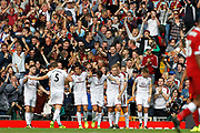 Burnley celebrate Burnley midfielder Scott Arfield (37) opening goal 0-1 during the Premier League match between Liverpool and Burnley at Anfield, Liverpool, England on 16 September 2017. Photo by Craig Galloway.