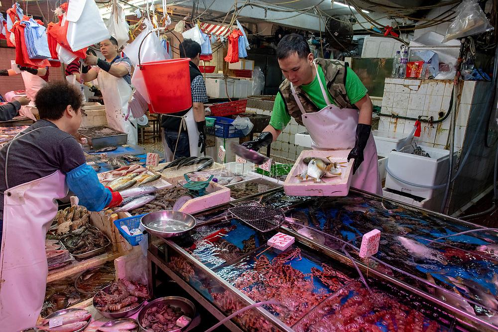 Sea food for sale at Wan Chai Road, Hong Kong, China.
