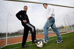 Football players of NK Interblock Robert Beric (in black) and Agim Ibraimi of NK Olimpija, on March 25, 2010, ZAK stadium, Ljubljana, Slovenia. (Photo by Vid Ponikvar / Sportida)