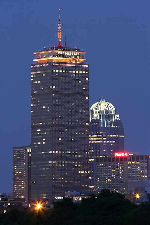 Boston skyline photography showing the Prudential Center decorated with a yellow light in support of the Boston Bruins Stanley Cup bid against the Chicago Black Hawks.<br />