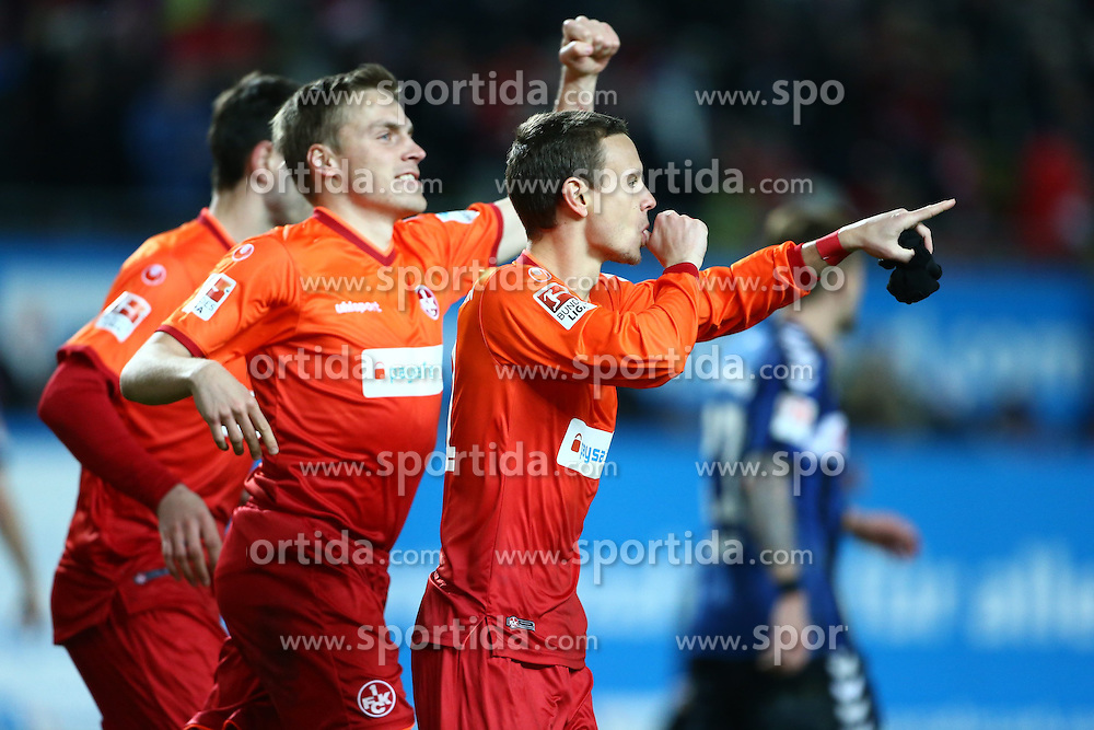 27.02.2015, Fritz-Walter-Stadion, Kaiserslautern, GER, 2. FBL, 1. FC Kaiserslautern vs SpVgg Greuther F&uuml;rth, 23. Runde, im Bild Chris Loewe (1.FC Kiserslautern) bejubelt seinen Treffer zum 2:0 mit Ruben Jenssen (1.FC Kaiserslautern), Torjubel / Jubel, Emotionen // during the 2nd German Bundesliga 23rd round match between 1. FC Kaiserslautern and SpVgg Greuther F&uuml;rth at the Fritz-Walter-Stadion in Kaiserslautern, Germany on 2015/02/27. EXPA Pictures &copy; 2015, PhotoCredit: EXPA/ Eibner-Pressefoto/ Neis<br /> <br /> *****ATTENTION - OUT of GER*****