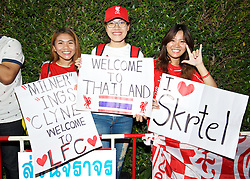 BANGKOK, THAILAND - Monday, July 13, 2015: Thai Liverpool supporters welcome the squad at Bangkok's Suvarnabhumi Airport as the team arrive in Thailand for the start of the club's preseason tour. (Pic by David Rawcliffe/Propaganda)