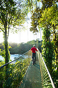 One of the longest suspension bridge's in Costa Rica crosses the Sarapiqui River at the Tirimbina Biological Reserve. The reserve is an educational, scientific, and ecotourism destination that protects 750 acres of rainforest.