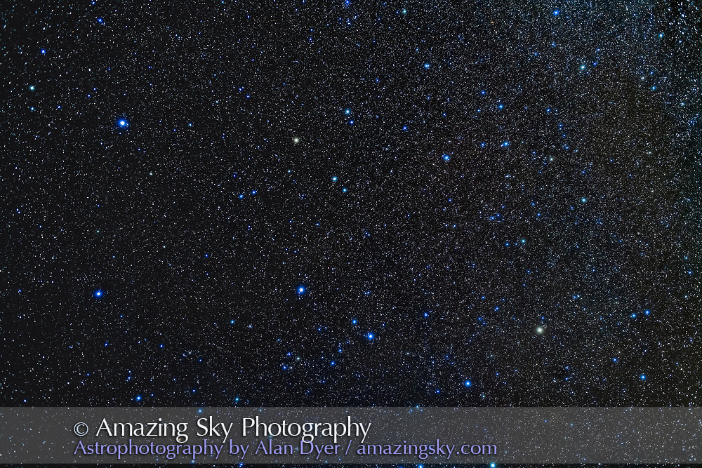 The constellation of Pegasus the Flying Horse in the northern autumn sky, with the asterism of the Square of Pegasus most prominent at left. <br /> <br /> This is a stack of 2 x 2-minute exposures with the 35mm Canon lens at f/2.5 and Canon 5D MkII at ISO 1600, with an additional exposure through the Kenko Softon filter layered in to add the star glows. <br /> <br /> Taken from Quailway Cottage in Arizona, with the Star Adventurer Mini tracker.