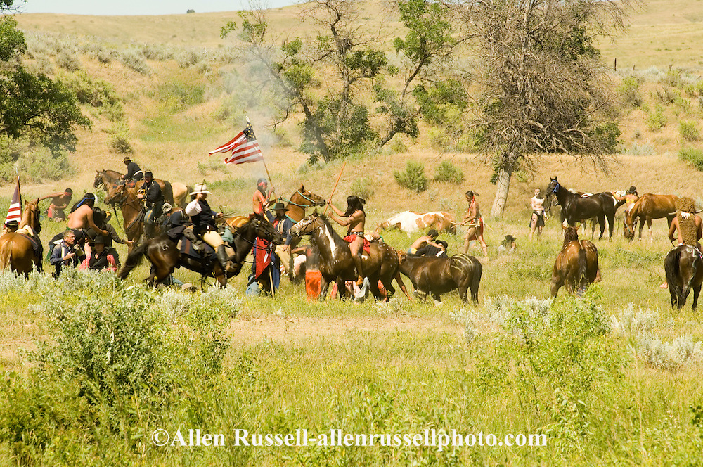 Custers Last Stand Reenactment at Medicine Tail Coulee on Little Bighorn River, Real Bird Reenactment, Warriors defeat Custer and 7th Cavalry.