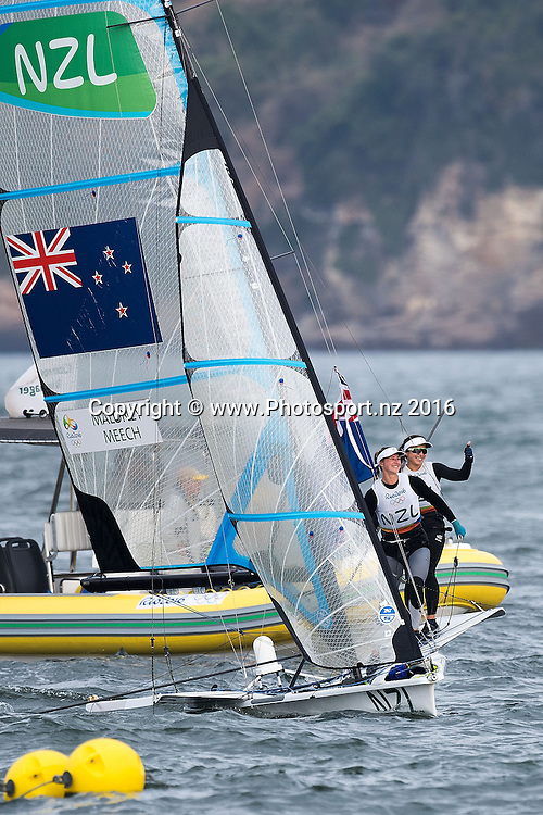 New Zealand's Alex Maloney and <br /> Molly Meech win Silver for the 49er class sailing race the 2016 Rio Olympics on Thursday the 18th of August 2016. &copy; Copyright Photo by Marty Melville / www.Photosport.nz