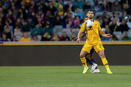 CANBERRA, AUSTRALIA - OCTOBER 10: Australian defender Bailey Wright (20) controls the ball on his chest during the FIFA World Cup Qualifier soccer match between Australia and Nepal on October 10, 2019 at GIO Stadium in Canberra, Australia. (Photo by Speed Media/Icon Sportswire)