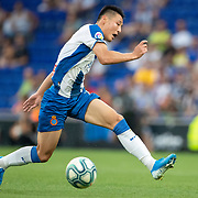 BARCELONA, SPAIN - August 18:  Wu Lei #7 of Espanyol in action during the Espanyol V  Sevilla FC, La Liga regular season match at RCDE Stadium on August 18th 2019 in Barcelona, Spain. (Photo by Tim Clayton/Corbis via Getty Images)