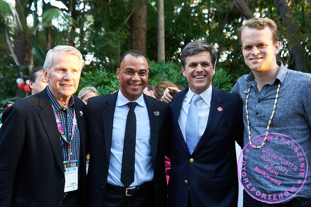(2R) Timothy Shriver and (2L) Cafu (Marcos Evangelista de Morais known as Cafu, a Brazilian former professional footballer. He is the only player to have appeared in three World Cup finals, winning two, 1994 and 2002) pose to picture speaks while Austria 2017 Reception during third day of the Special Olympics World Games Los Angeles 2015 on July 27, 2015 in Los Angeles, USA.<br /> USA, Los Angeles, July 27, 2015<br /> <br /> Picture also available in RAW (NEF) or TIFF format on special request.<br /> <br /> For editorial use only. Any commercial or promotional use requires permission.<br /> <br /> Adam Nurkiewicz declares that he has no rights to the image of people at the photographs of his authorship.<br /> <br /> Mandatory credit:<br /> Photo by &copy; Adam Nurkiewicz / Mediasport