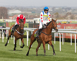 LIVERPOOL, ENGLAND - Thursday, April 8, 2010: What A Friend ridden by Ruby Walsh and owned by Manchester United manager Alex Ferguson wins the Totesport Bowl Steeple Chase during the opening day of the Grand National Festival at Aintree Racecourse. (Pic by David Rawcliffe/Propaganda)
