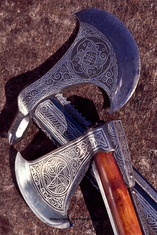 These reproductions of battle-axes dating from the 16th to the 17th centuries are examples of the authenticism achieved in the medieval weapons crated by the Koulmanov brothers.