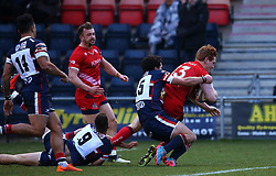 Jack Tovey of Bristol Rugby scores a try - Mandatory by-line: Robbie Stephenson/JMP - 13/01/2018 - RUGBY - Castle Park - Doncaster, England - Doncaster Knights v Bristol Rugby - B&I Cup