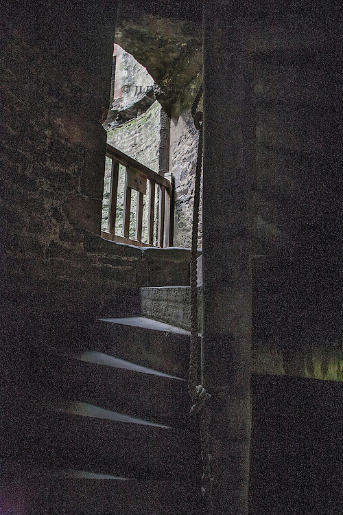 Views of the ruins of Conwy Castle, Conwy, Wales.  Tower interior staircase winding upward.